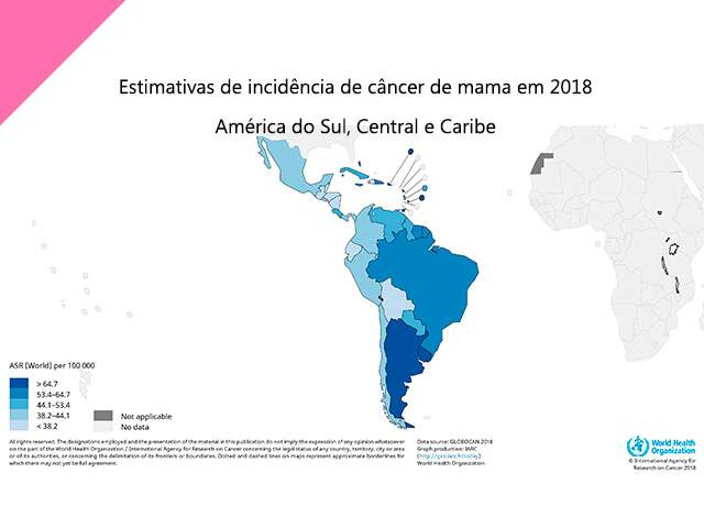 Mapa com incidencia de cancer de mama nas Americas do Sul e Central e Caribe